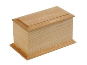 small wooden casket